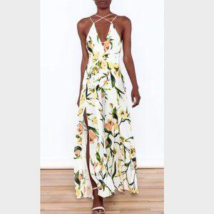 NWT Luxxel Bold Lemon Floral Jumpsuit Wide Leg Sm